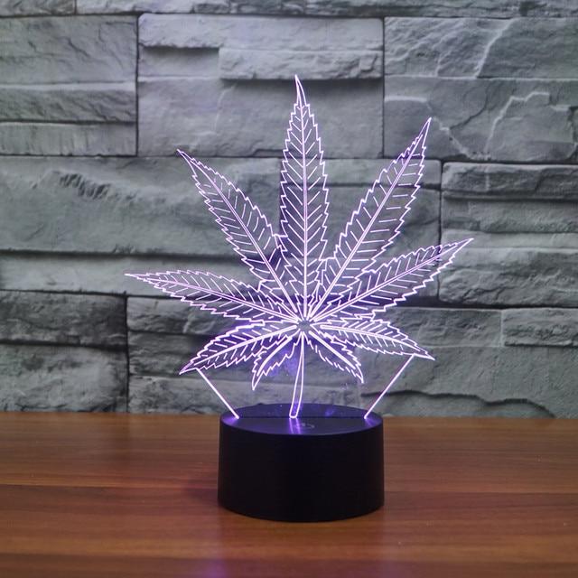 Cannabis Laat Tafel Licht Nieuwste LED Nachtlampje 3D Lamp LED ...