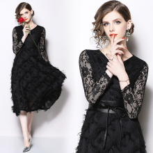 Spring new ladies temperament lace stitching dress Slim high waist was thin fashion elegant party