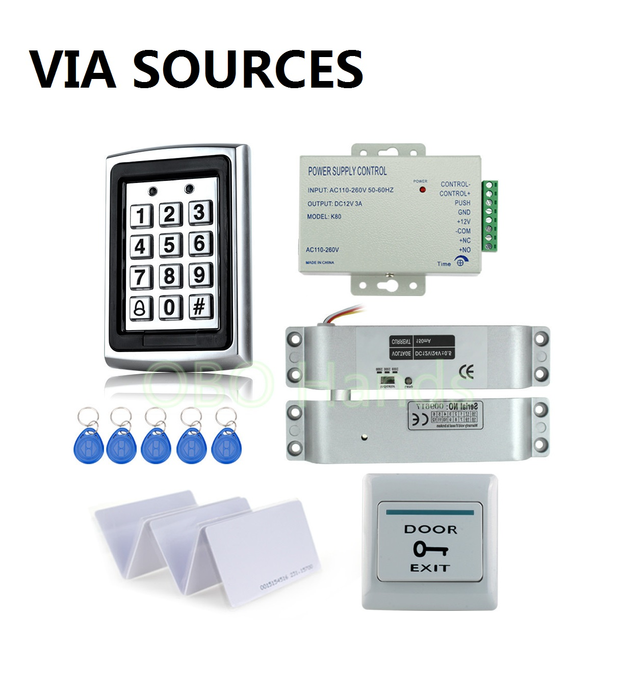 Direct Factory with Electric Bolt Lock+Keypad+Power supply+Exit switch+Keys Door Access Control System Kit Full SetDirect Factory with Electric Bolt Lock+Keypad+Power supply+Exit switch+Keys Door Access Control System Kit Full Set