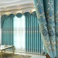 Cortina de tela bordada de cortina europea para sala de estar para cortina de dormitorio|Cortinas| |  -