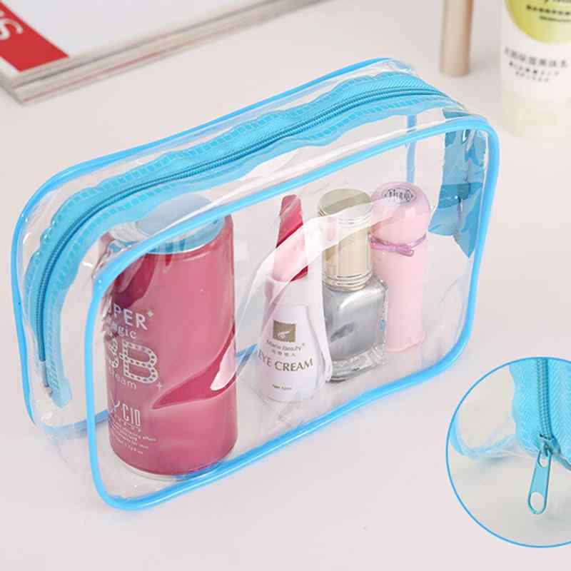 1PC Clear Travel Makeup Cosmetic Bag Transparent Plastic PVC Bags Toiletry Zip Pouch 3 Colors Women Toiletry Bag 15*7*10.5cm