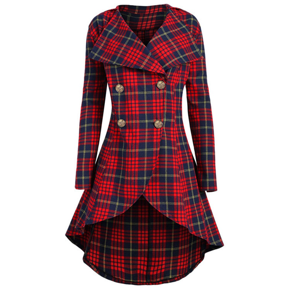Vintage Plaid Print Peplum   Trench   Coats 2018 New Autumn Button Large Size Office Lady Overcoats Elegant Work Fashion Casual Coat
