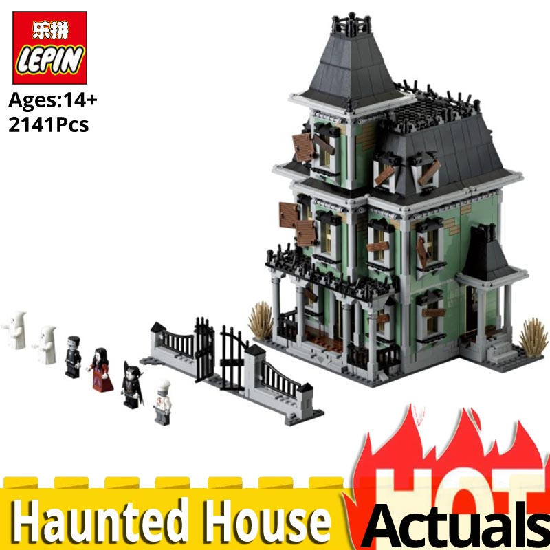 LEPIN Movie 16007 Monster fighter The haunted house Model set Compatible LEGOinglyS 10228 Building Toys for Children Funny Gift lepin 16007 the haunted house set building blocks model compatible legoing 10228 monster fighter toy for kids halloween gift