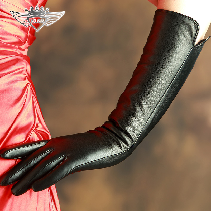 KLSS Brand Genuine Leather Women Gloves High Quality Goatskin Gloves Fashion Black Elegant Lady 40cm Long Sheepskin Gloves X210