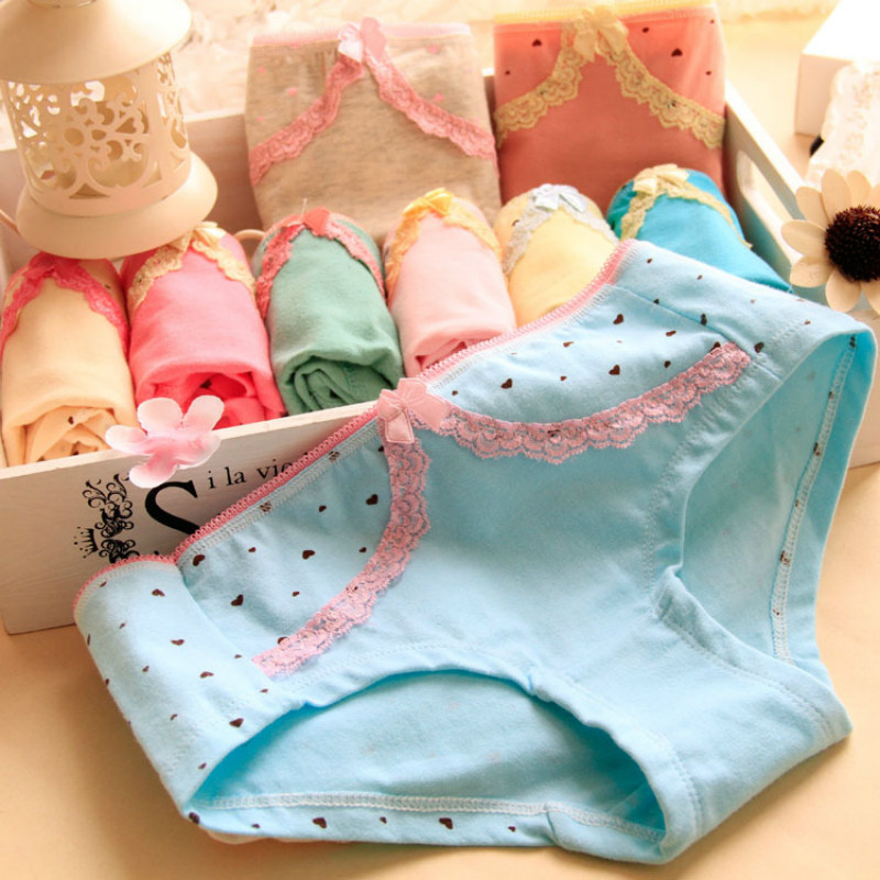 Small fresh culotte enfant fille lovely peach girl underwear Children's cotton underwear kids lace Stitching laciness panties