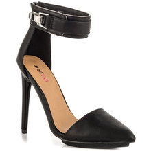 Black Two Piece Ankle Strap Pointed Toe Stiletto Women Pumps High Heels Shoes Woman Pumps Made-to-order Shoes OL Shoes Women