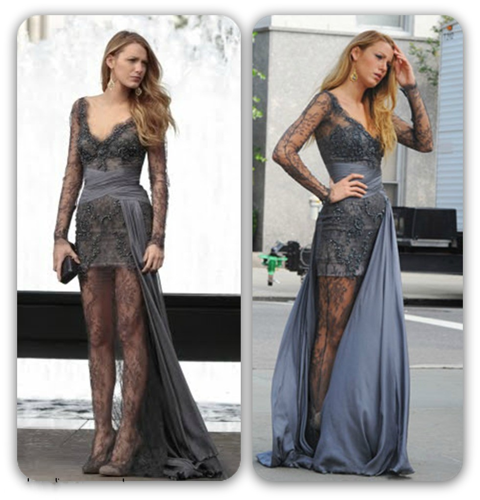 Sexy Lace Cocktail Dresses Gossip Girl Blake Lively Grey