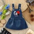 Bebê recém-nascido Meninas Dos Desenhos Animados Macacão Azul Denim Macacão Vestido 0-4Y