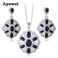 Viernes negro en Blanco y Negro de Plata Estampado Proveedor Súper Negro Onyx Joyería Conjuntos Collar Aretes de Moda JS656A