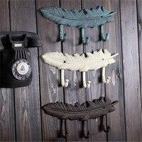 33CM retro metal cast iron feather hook bar cafe wall decoration creative clothing luggage hook K006