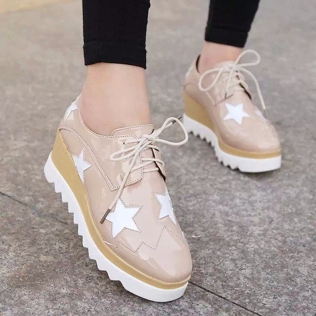 2015 Style Stars Vintage Womens Round Toe Patent Leather Flat Platform Oxford Lace up Derby Shoes Size 35-39 Brogue Shoes PX69 (9)