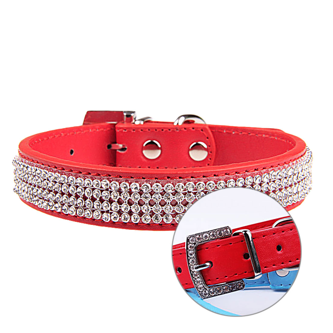 High Sale Bling Diamante Rhinestone PU Leather Cat Dog Collars Pink for Small Medium Dogs Various sizes of colors