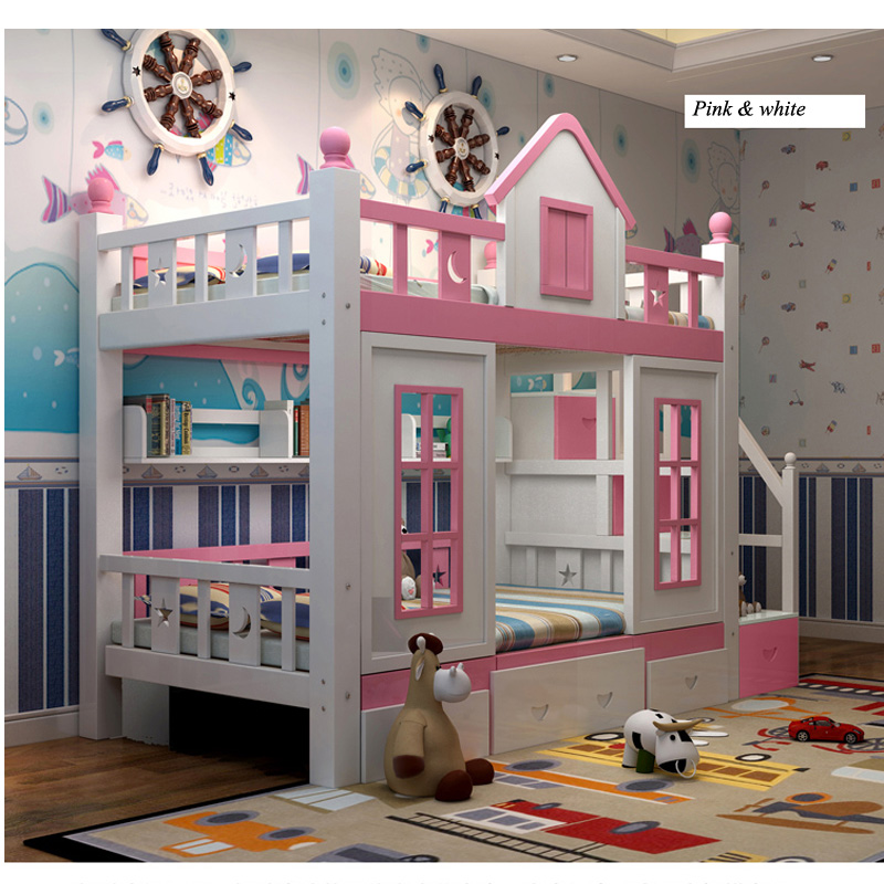 7  0128TB006 Fashionable kids bed room furnishings princess fortress with slide storages cupboard stairs double kids mattress HTB1a7cBoMvD8KJjSsplq6yIEFXah