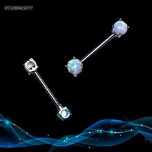 2 pcs 14G Fantasy Natural Opal Nipple Ring White Nipple Piercing Barbell Pircing Opal17 Surgical Fake Nipple Rings Women Jewelry