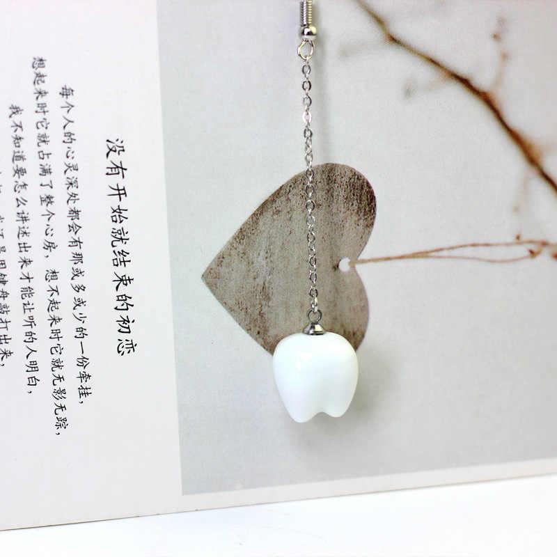 Novedad lindos pendientes de dientes de cerámica de estilo coreano de lujo pendientes de diente de cadena larga de plata para mujer joyería de regalo para niñas