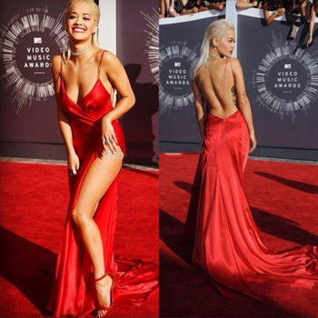 Sexy Celebrity Dress in Slit Cheap Red Carpet Dresses Spaghetti Straps Backless Oscars Dress photo shoot