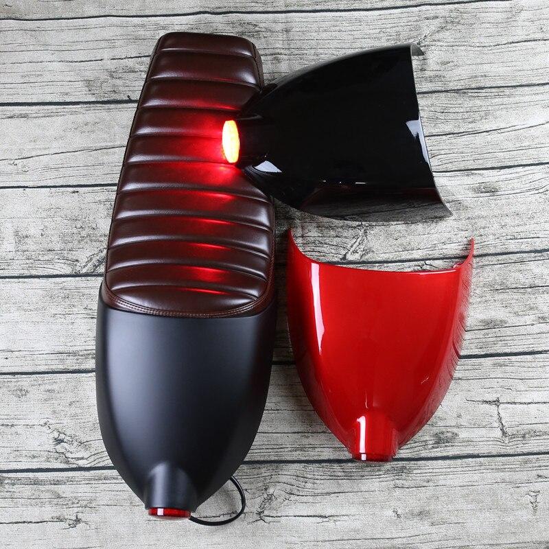 Nouvelle bande Vintage moto moto coussin de siège avec couvercle et queue lumière brun Café Racer Siège carénage