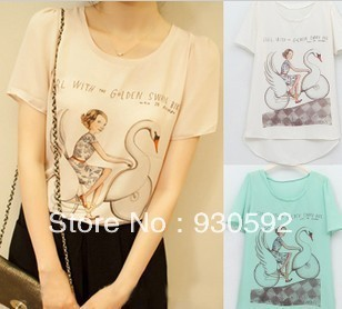Summer Dress New Swan Girl Chiffon Printed T-Shirts Trend Of Korean Chiffon Shirt Short-Sleeved Shirt
