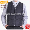 Middle-aged man autumn winter plus size zipper  loose V-neck sleeveless cotton cardigan Hooded down vest