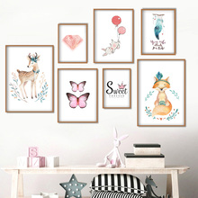Cartoon Deer Fox Rabbit Butterfly Feather Nordic Posters And Prints Wall Art Canvas Painting Pictures For Kids Room Decor