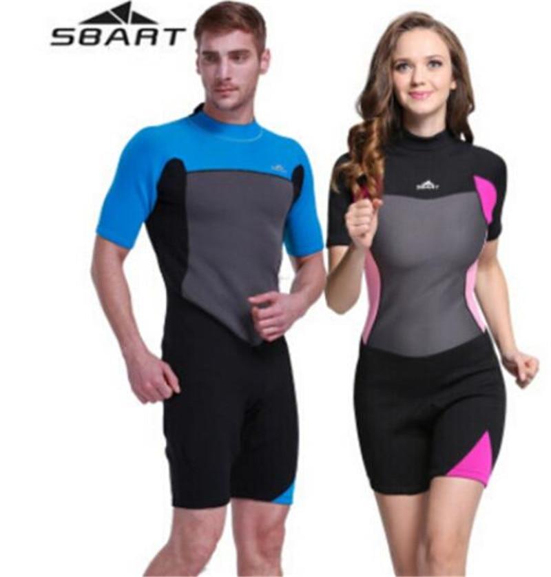 SBART 2MM Men Women Neoprene Shorts One Piece Wetsuit Spearfishing Surfing Diving Equipment Suits Swimwear Swimsuit