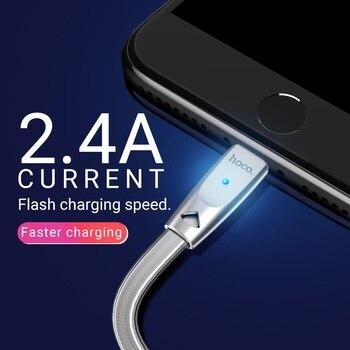 Hoco Cable Usb A Para Lightning Zinc Conector Indicador Carga Rápida 2.4a Datos Sincronización Cable Cargador Para Apple Iphone Ipad