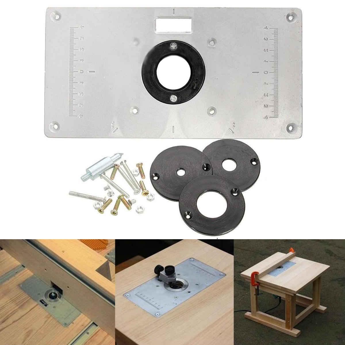 Diy router table insert plate - Online Shop Universal Aluminum Metal Router Table Insert Plate With 4pcs Insert Rings For Diy Woodworking Tools Mayitr Aliexpress Mobile