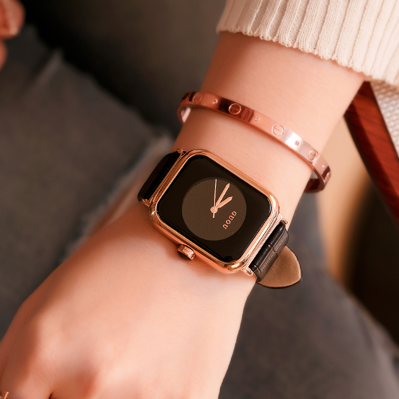 GUOU Relogio Feminino Fashion Casual Ladies Square Dial Watches Simple Women Clock Minimalist Watch Leather Dress Wrist Watch guou top brand women s watches bracelet ladies watch calendar saat square dial leather strap clock women montre relogio feminino