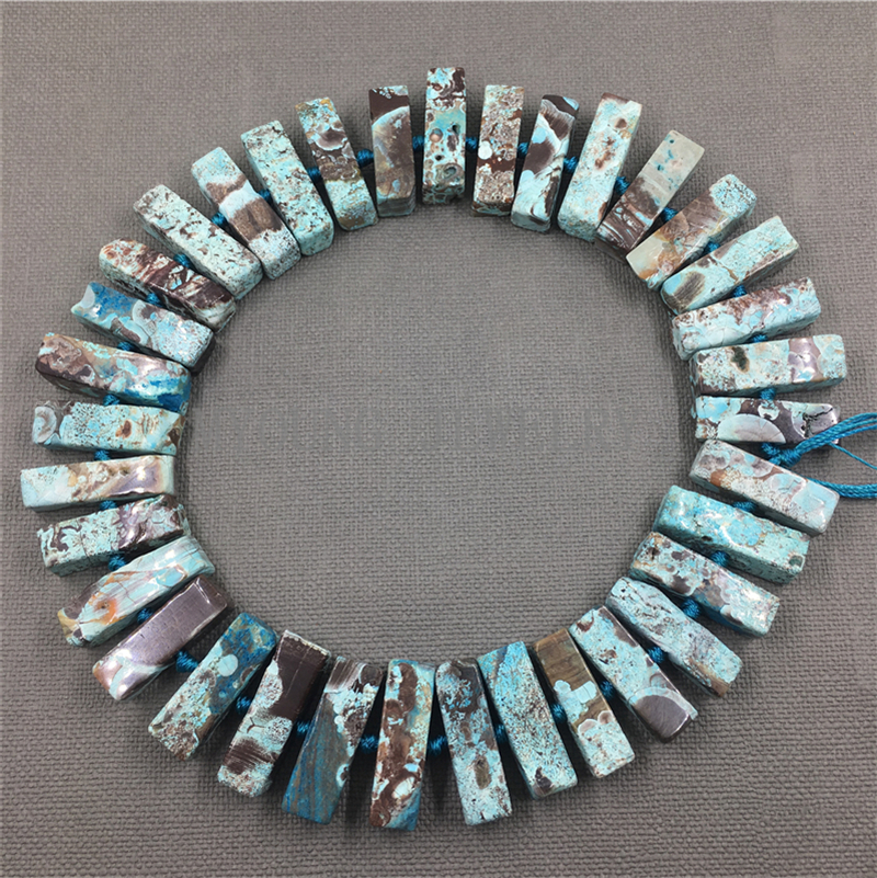 Sea Blue Sediment Jaspers Cuboid Drilling Agates Bead Ocean Jaspers Pendant beads For DIY Jewelry MY1267