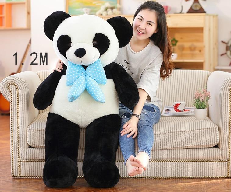 large 120cm stuffed panda toy bowtie Gaint panda doll soft throw pillow,Valentine's Day,Xmas gift 0325 stuffed animal 75 cm panda plush toy i love you red heart panda doll throw pillow gift w3501