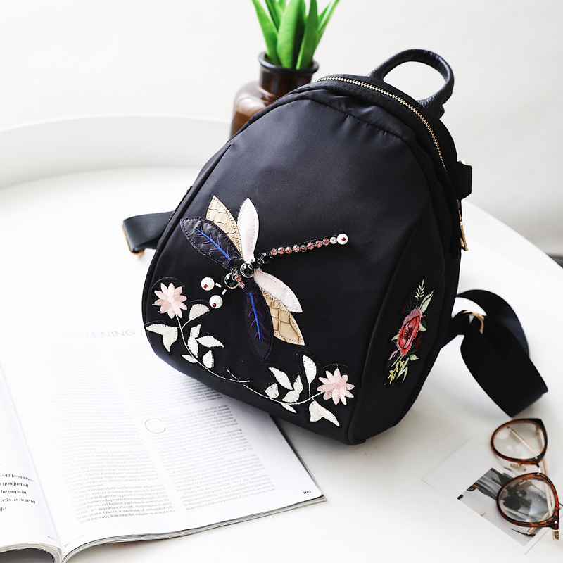 Flower Floral Women s Embroidery Backpack Children Back to school Ladies Oxford Schoolbag for Teenagers Girls