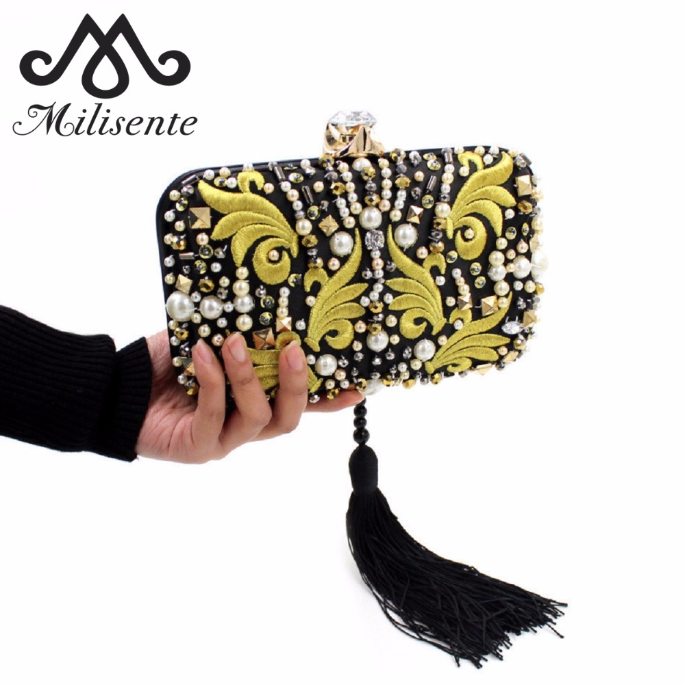 Milisente Women Clutch Bags Ladies Small Evening Clutches Bag Female Wedding Clutch Purses milisente beaded embroidery tassel bags women party bag small evening clutches lady wedding clutch chain