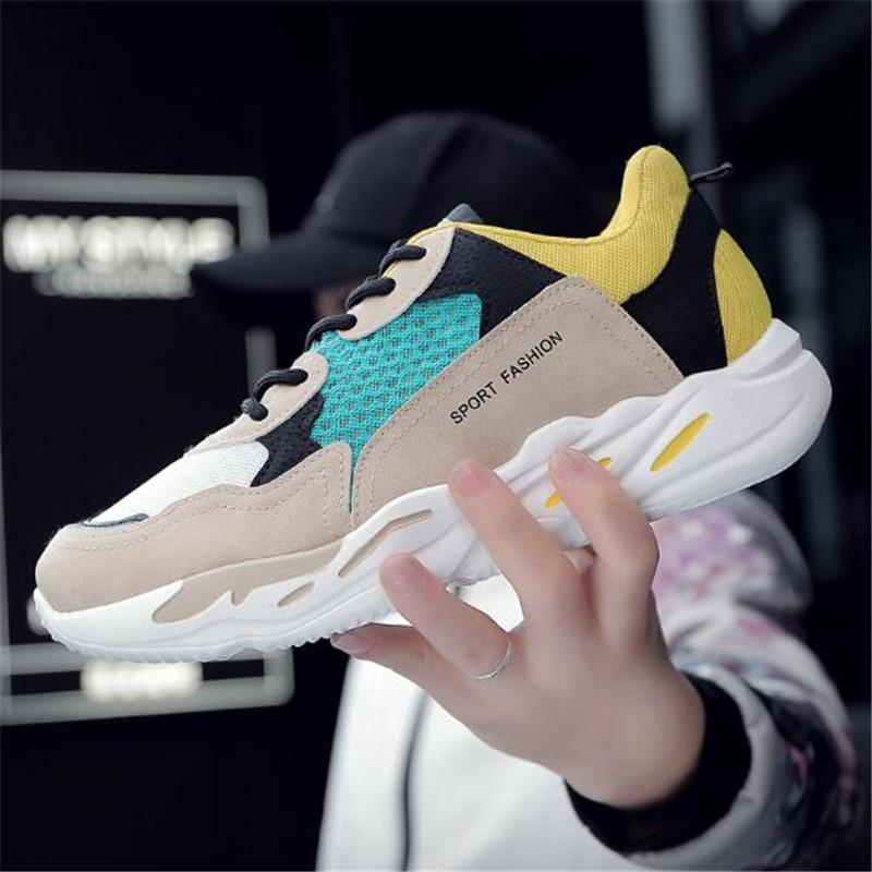 Zapatos Moda Vintage yellow Adulto Casuales Hombres Cómoda Deporte Masculino Malla Tenis Otoño De 2019 Los blue Harajuku Transpirable Las Zapatillas Black R7nEv