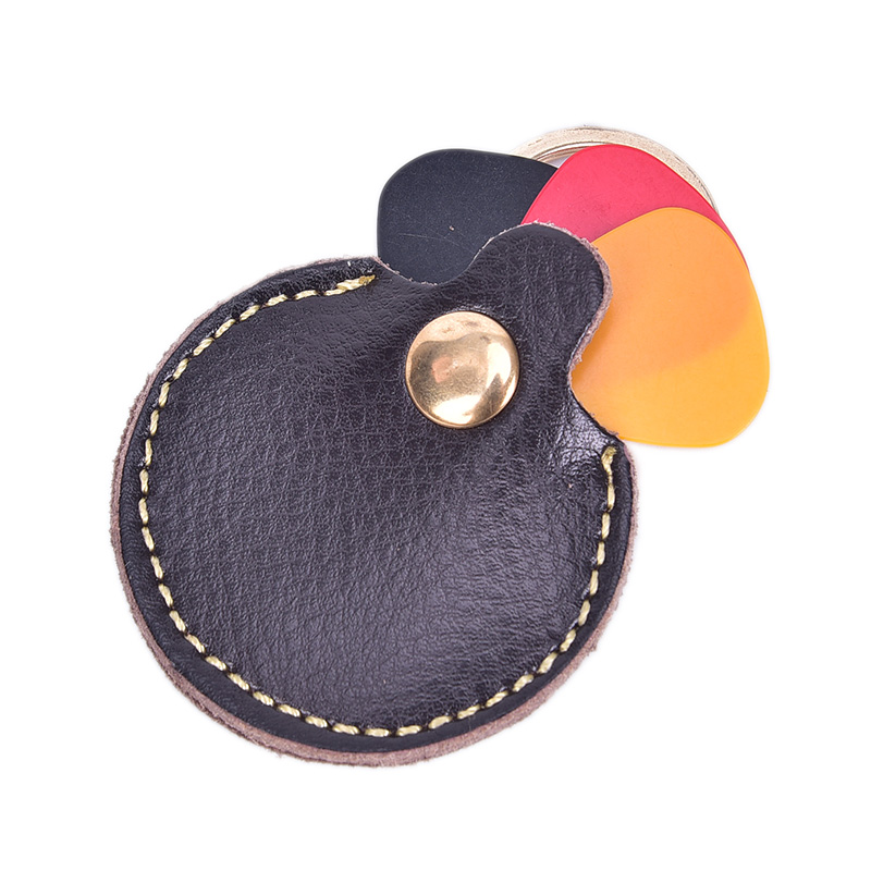 Portable 1pc Compact Guitar Pick Holder Genuine Leather Guitarra Plectrum Case Bag Keychain Shape Guitar Accessories