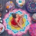 Многосторонние пашмины новинка шаль лотоса шаблон кисточкой стиль круглый пляжное полотенце тонкий Мандала yoga Одеяло летом Коврик крышка