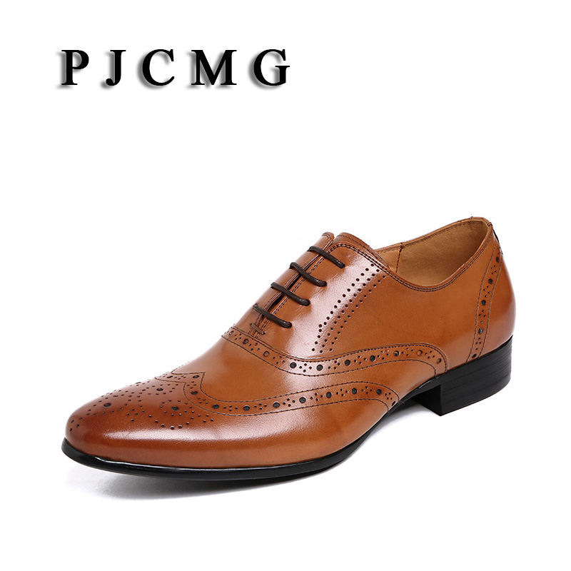 PJCMG Designer Classic Men Dress Genuine Leather Men Oxfod Lace-Up Carved Casual Business Black/Brown Wedding Men Dress Shoes цены онлайн