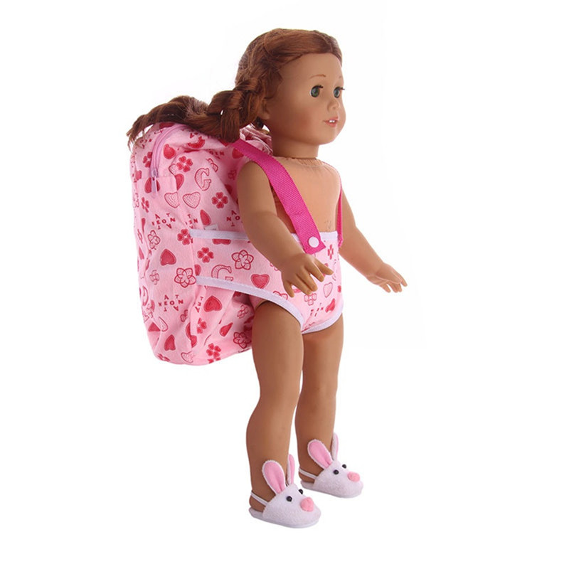 купить Fashion Children Kids Backpack & Doll Carrier Sleeping Bag For American Girl Dolls 18 Inch Doll Accessories по цене 154.38 рублей