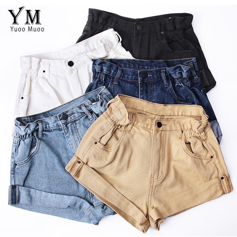 YuooMuoo Vintage High Waist Crimping Denim Shorts Women 2019 Korean Style Casual Shorts Jeans Summer Hot Short Pants Women