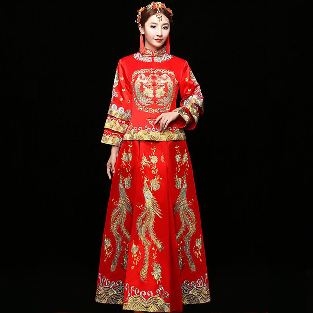 3033127538e1 bride wedding dress Traditional chinese style costume Phoenix cheongsam  Embroidery clothing Luxury ancient Royal Red Qipao gown