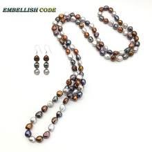 Ожерелье с натуральным жемчугом в стиле барокко 120 см
