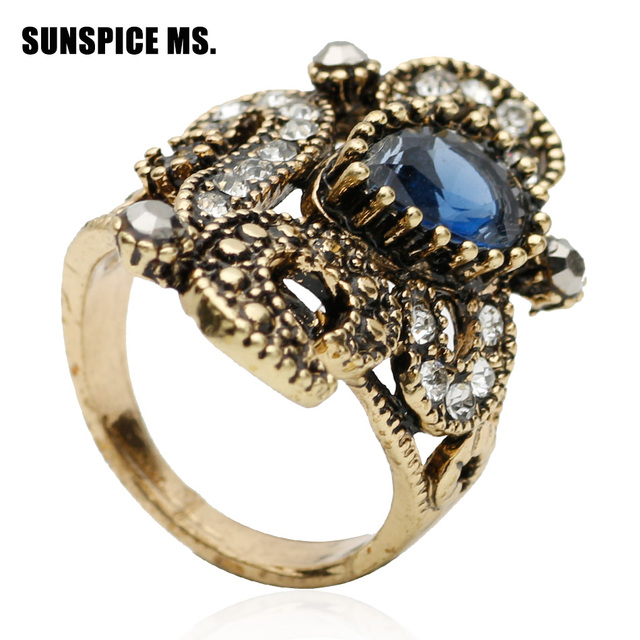 fashion ethnic women flower ring antique gold color resin jewelry turkish bridal finger ring indian wedding - Turkish Wedding Ring