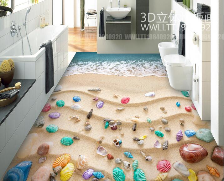 ФОТО 3d pvc flooring custom photo Self-adhesive material picture 3 d beach is colorful shells painting 3d wall room murals wallpaper