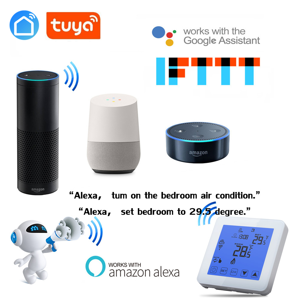 Alexa Google Home Voice Wifi Programmable Thermostat, Thermostat For Floor Heating, Water, Electric Heating Tuya App Smart Home