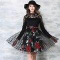 2016 del nuevo diseñador vestidos de las mujeres de alta calidad Polka Dot cordón del bordado de flores Apliques de manga larga vestido de partido del club de noche OM843