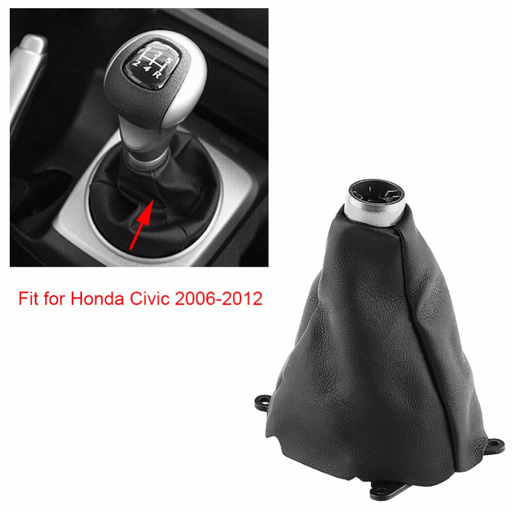 Auto Car Manual PU Leather Gear Gaiter Shift Shifter Boot Replacement for Honda Civic 2006 2007 2008 2009 2010 2011