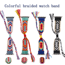 Colorful Nylon Woven Band for Apple Watch 38mm/40mm/42mm/44mm Women's Creative Hand Made Braided Straps for Apple Watch Band аксессуар ремешок apple watch 38mm woven nylon band red mpw02zm a