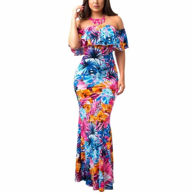 d3a5b95cecb Adogirl 2018 Boho Print Flower Summer Dress Sexy Off Shoulder Ruffles Long  Dress Beach Party 8