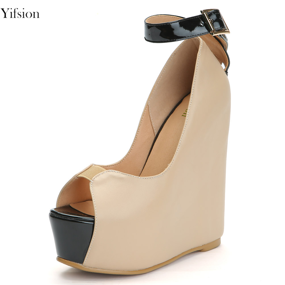 Yifsion New Women Platform Pumps Sexy Wedges High Heels Pumps Charm Peep Toe Ladies Nude Casual Shoes Women Plus US Size 4-15 women wedges high heels shoes women pumps patent leather peep toe platform classics fashion shoes ladies footwear size 34 47