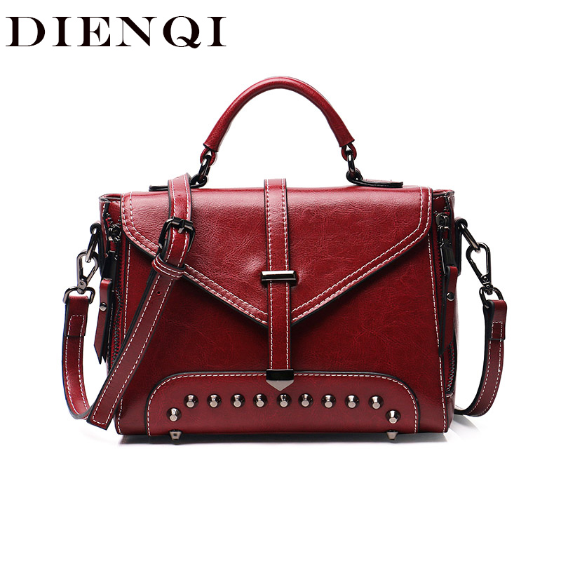 DIQNQI Rivet sac à bandoulière en cuir véritable pour femmes 2018 Style Vintage petits cartables sac messager dames mode sac à main rouge