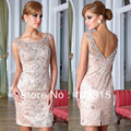 Luxury Peach Scoop Short Sheath Crystal Cocktail Dresses Couture Party Dresses Chiffon HL-853